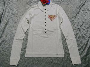 サディスティックアクション Sadistic Action スーパーマン レディース長袖ポロシャツ ホワイト NO6 新品