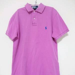 即決 送料無料 ラルフローレン ポロシャツ ワンポイント ロゴ 刺繍 半袖 コットン 90s 古着 Polo by Ralph Lauren ピンク S メンズ