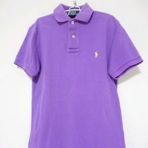 即決 送料無料 ラルフローレン ポロシャツ ワンポイント ロゴ 刺繍 半袖 コットン 90s 古着 Polo by Ralph Lauren パープル XS メンズ 紫