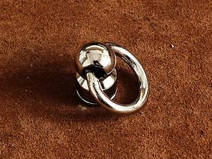 真鍮 ドロップハンドル 小(シルバー)ポスト トチカン 財布 金具 パーツ 工具 ウォレットチェーン レザークラフト 首輪 ペット用品