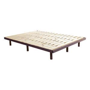 パイン材高さ3段階調整脚付きすのこベッド(ダブル)LPS-01D-BR ブラウン