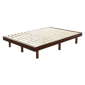 3段階高さ調整付きすのこベッド(ダブル) ベッドフレーム 簡単組み立て|Libure-リビュア-HT-XC01D-BR ブラウン
