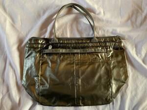 LeSportsac レスポートサック ハンドバッグ シルバー ナイロンショルダーバッグ 長期保管品  送料無料 未使用品