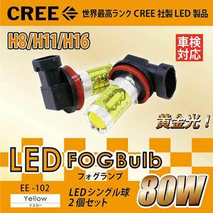 ホンダ◇最新CREE製 H8/H11/H16 80W LEDフォグランプ 黄色 102◇オデッセイ クロスロード シビックタイプR