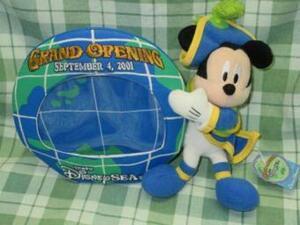 未使用 TDS グランドオープニング 限定 2001 アクアスフィア&ミッキー ぬいぐるみ フォトスタンド 稀少 初期 ディズニーシー Disney グッズ