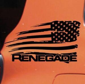 RENEGADE アメリカ国旗 アメ車 カッティングステッカー 色変更OK 車 バイク トラック インテリア ヘルメット 防水 ジープ レネゲード
