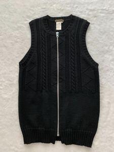 Y`s for men ジップアップニットベスト size3 ブラック ワイズフォーメン ヨウジヤマモト メンズ セーター ジレ