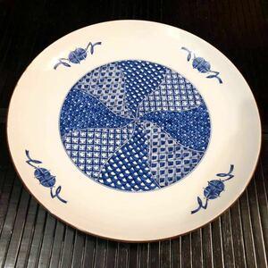 【送料無料】たち吉 染付陶器大皿 盛り皿 31cmビッグプレート 和食器 中古 未使用 キッチン雑貨 TACHIKICHI Japanese ceramic plate