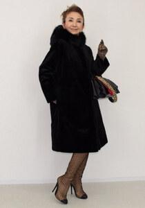 新品同様 Madame Hiroko マダムヒロコ 最高峰フォックスファー付 フード付 シェアードミンクコート☆ブラック ショップチャン