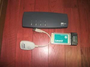 ◆◇ パソコン自動切替器 PS/2接続(4台用) REX-410・LANアダプタ・LANカード 3点セット◇◆