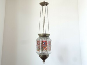【送料無料】真鍮×ガラスの吊り下げランタン 吊り下げオブジェ ランプシェード フランス蚤の市ブロカント 86002