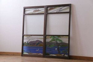 R-030501 ultra rare goods! Taisho Showa era the first period at that time thing color glass Matsubara .... stained glass sliding door ( glass door, fittings )