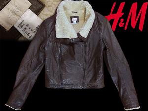 美品 H&M リアルレザー ボンバー ジャケット 34 Lサイズ 11号 セオリー ムートン