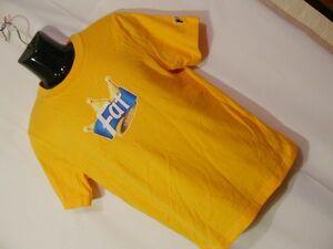 ssy467 FAT メンズ 半袖 Tシャツ イエローオレンジ ■ フロントプリント ■ クルーネック 丸首 カジュアル トップス PINOサイズ