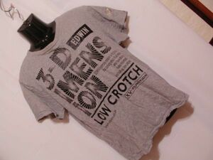 ssy283 EDWIN エドウイン 半袖 Tシャツ グレー ■ フロントプリント ■ クルーネック 丸首 綿100% カジュアルトップス Lサイズ