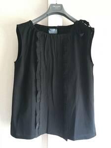 新品 プラダ 最高級 レース 装飾 ノースリーブ カットソー L PRADA カットソー 黒 ブラック トップス Tシャツ リボン イタリア製