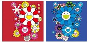新品 300枚限定 村上隆 サイン入り お花 フラワー ポスター ローズベルベット & ブルーベルベット 2枚セット