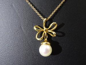 TIFFANY&Co. ティファニー ネックレス K18YG×パール約7.3mm ペンダント 真珠 ★