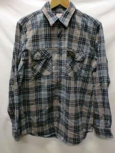 【メンズ】EDWINチェックネルシャツグレイ☆古着ブランドgood良品一点物