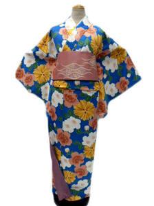 即決 お稽古着などに最適 ヒロミチ ナカノ hiromichi nakano 洗える着物(袷)小紋 Mサイズ ブルー地 桜 柄No5