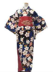【即決】 お稽古着などに最適 ヒロミチ ナカノ hiromichi nakano 洗える着物(袷)小紋 Lサイズ 黒地 梅の花 柄No14