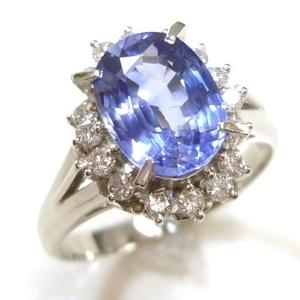 J◇Pt900 新品仕上済!豪華大粒!サファイヤ 2ct & ダイヤモンド0.3ct プラチナ リング 指輪 14号 ソーティングメモ付 美品
