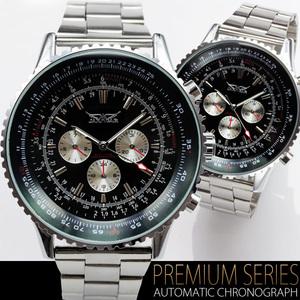【送料無料】【税込み】◆【全針稼動の本格仕様】ビッグフェイス・自動巻きクロノグラフ腕時計【 BOX・保証書付き 】 【 ブラックカラー 】