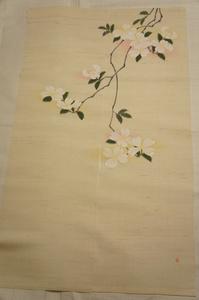 特選新品『羅工房』手描き花水木模様ハンヨウのれんE11141