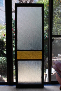 [ receipt limitation (pick up) ] prompt decision #. pavilion. yellow color glass window #134cm# diamond glass door # paint paint type brass field interval wooden old fittings Showa Retro old tool antique