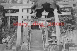 複製復刻 絵葉書/古写真 東京 王子稲荷神社 狛犬 鳥居 明治期 WA_131