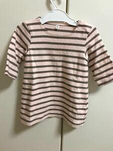 無印良品購入 定番ボーダーワンピース ピンク ブラウン キッズベビー服 90㎝