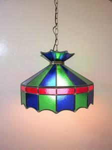 ビンテージ ステンドグラスペンダントランプ 吊り下げ 照明 電気 ライト インテリア 店舗什器 ディスプレイ 硝子 アンティーク