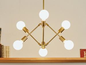 6灯 スチールペンダントライト(ゴールド)レトロ ミッドセンチュリー 照明 ペンダントランプ リビング ダイニング 天井照明