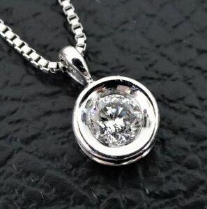 格安★一粒 天然ダイヤモンド 0.18ct プラチナ ペンダント ネックレス Pt850 Pt900 長さ 40㎝ ジュエリー■1725-1★
