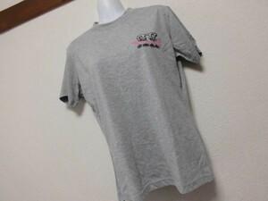 assk6-1051☆ ■■RUSS・K■■ 半袖プリントTシャツ 丸首 トップス クルーネックTシャツ グレー Mサイズ 綿混素材