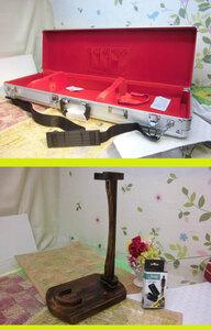 (送料無料) 21.000円 沖縄三線専用 一丁入れアルミハードケース、蛇皮強化(二重張)型チーガ、三線台、調弦チューナーセット