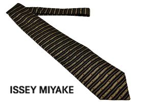 N-1123★送料無料★im イッセイミヤケ★日本製 ブラック黒色 ボーダー柄 織生地シルク ネクタイ