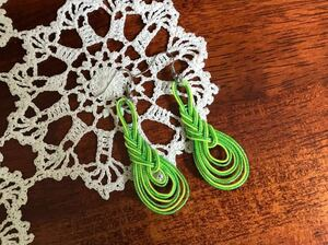 【ハンドメイド】★手作りアクセサリー水引細工ピアス/イヤリングみょうが結びライムグリーン緑★