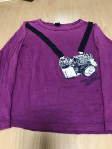 ★美品★だまし絵★ 値下げ★カメラ 110 長袖 カットソー Tシャツ 男の子 パープル 紫 キッズ 送料無料
