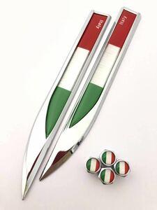 イタリア 国旗 エアーバルブキャップ エンブレム ステッカー セット フェンダー アバルト ABARTH 124 スパイダー 595C 695