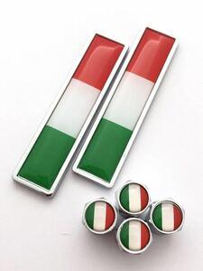 A イタリア 国旗 エンブレム ステッカー バルブキャップ フェラーリ Ferrari 575 599 612 F12 F355 イタリア カリフォルニア