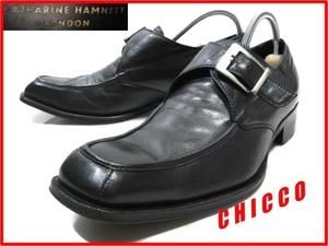 即決★KATHARINE HAMNETT メンズ 24.5cm 黒★日本製 キャサリンハムネット 本革 レザー ビジネス シューズ シングル モンクストラップ 革靴
