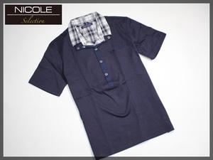★新品 NICOLE selection ニコルセレクション 2枚襟 ポロシャツ 半袖カットソー 2枚衿 半袖シャツ M ネイビー 紺★
