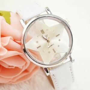 大人気 デザイン 腕時計 星 ユニセックス スター ホワイト 白 レディース メンズ PU レザー ベルト アナログ クォーツ 3針