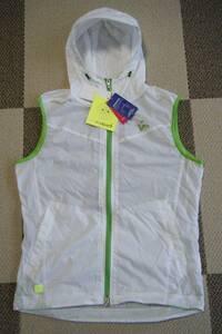 ビバハート VIVA HEART ゴルフ用高機能軽量フーテッドジャケット・ベスト 白色 サイズ 48/M相当 撥水/ストレッチ機能 定価 15,400円
