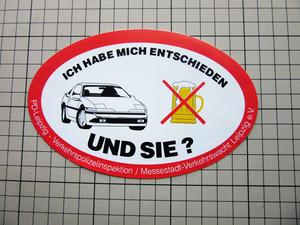 2825 【即決・定額・同梱包可能】 ◆ Leipzig 警察 ドイツ  自動車 お酒 ◆飲酒運転 飲んだら乗るな☆ヴィンテージ ステッカー ☆ ◆