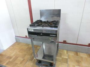 中古厨房 業務用 オザキ 1口ガスコンロ OZ45-60D 都市ガス 連続スパーク方式自動点火 W450×D600×H800(1000)mm