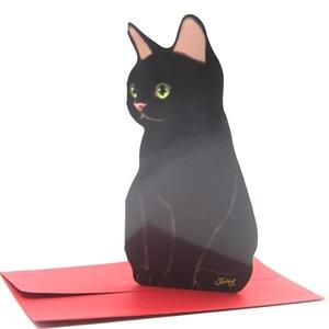 送料無料  黒猫 メッセージカード + 封筒 レター 2組 セット // ※シワあり アニマル 便箋 プレゼントカード ネコ let3