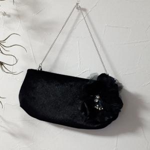 おしゃれ・結婚式・二次会に・フォーマル・パーティーバッグ・ハンドバッグ・ブラック系・コサージュ2個付き