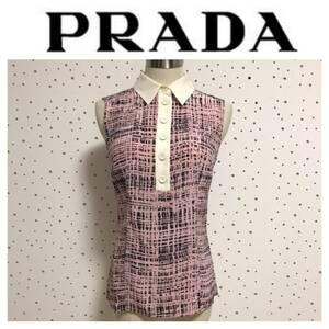 本物 PRADA プラダ シルク100% ノースリーブ ブラウス 38 ピンク系